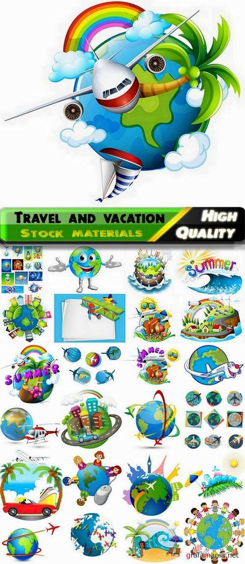 Illustration with theme of travel and vacation - 25 Eps
