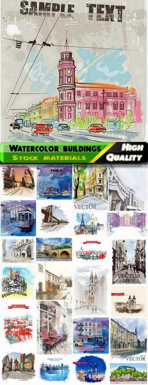 Pictures of buildings and cities watercolor painting - 25 Eps