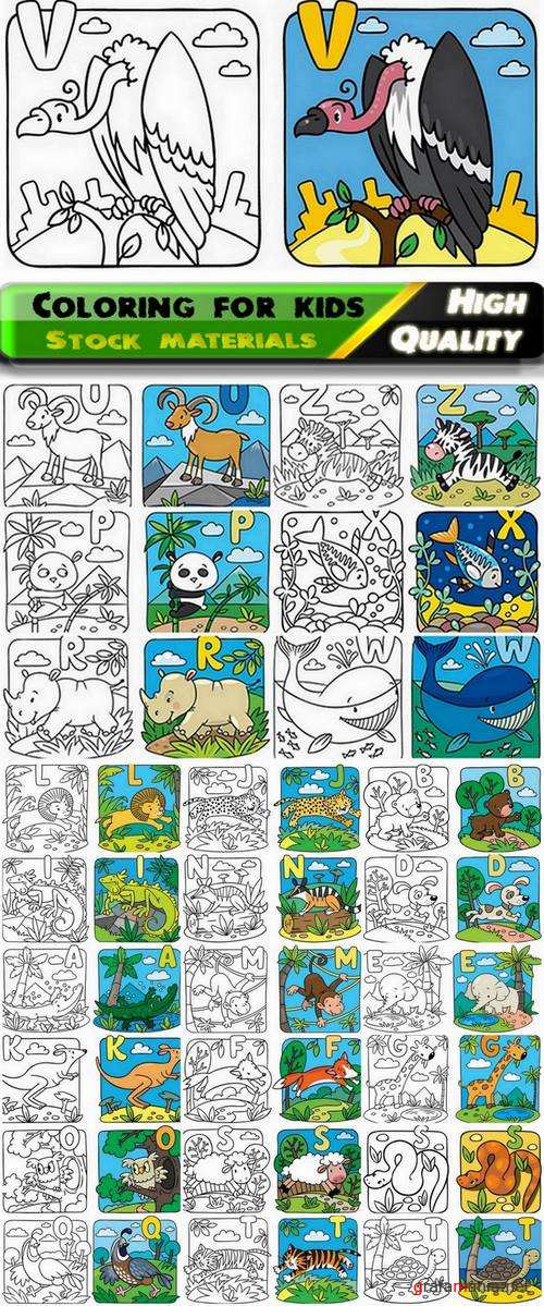Coloring for kids with nature and animals #3 - 25 Eps