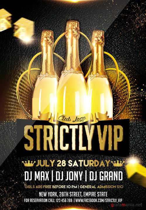Club Flyer PSD Template - Strictly VIP