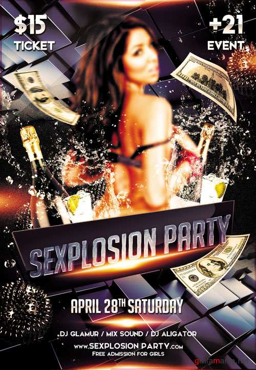 Club Flyer PSD Template - Sexplosion Party