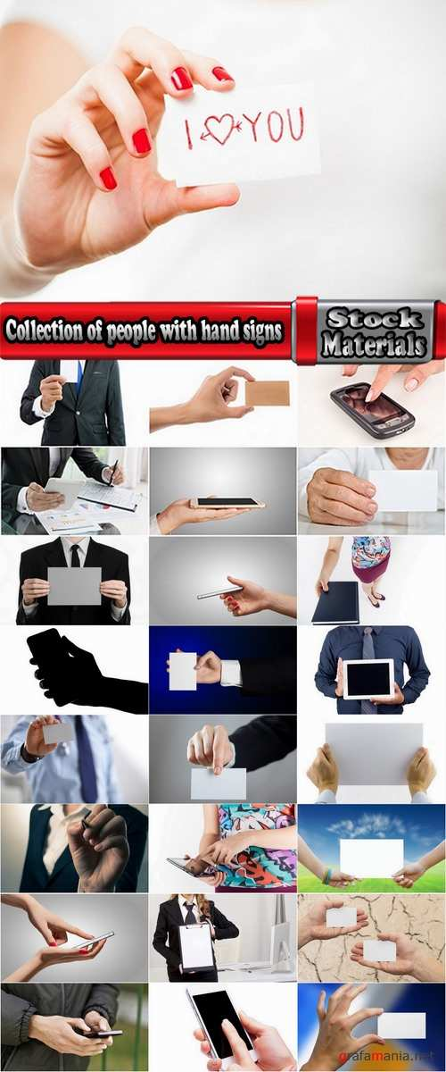 Collection of people with hand signs and the sign 25 HQ Jpeg