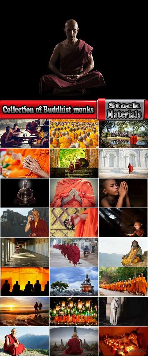 Collection of Buddhist monks in the temple and various backgrounds 25 HQ Jpeg