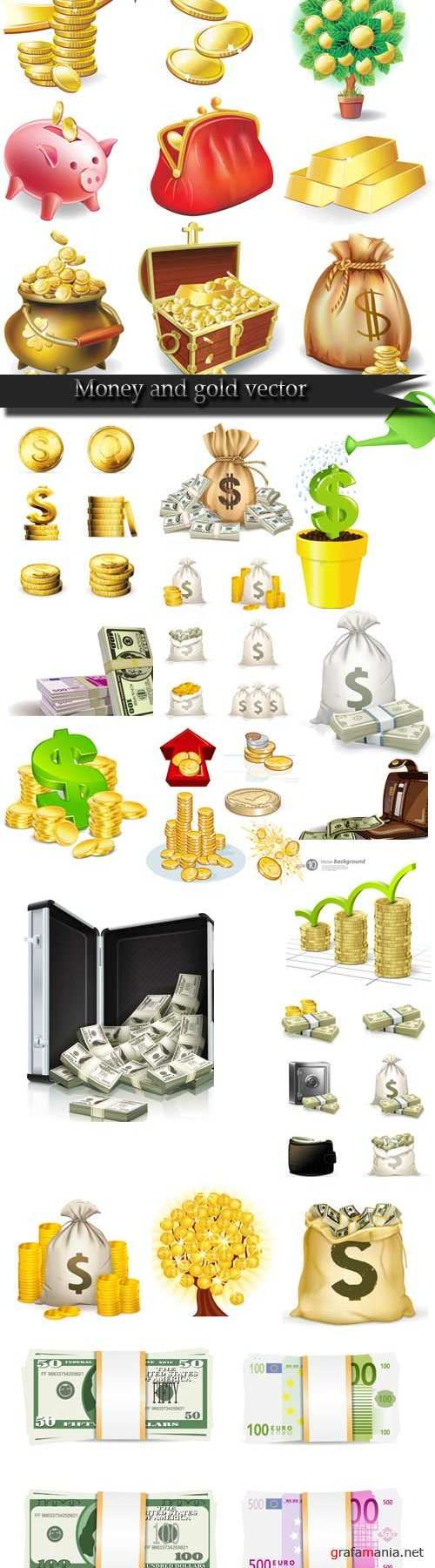 Money and gold vector