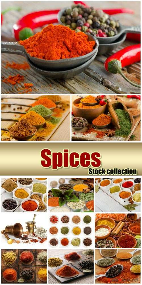Spices, pepper, ginger, turmeric - stock photos