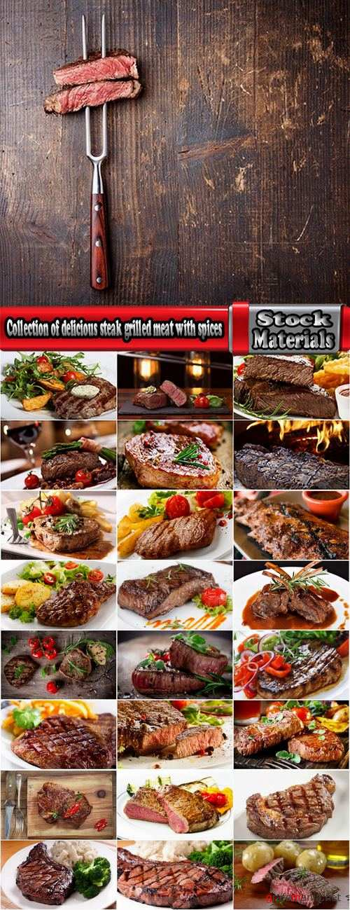 Collection of delicious steak grilled meat with spices 25 HQ Jpeg