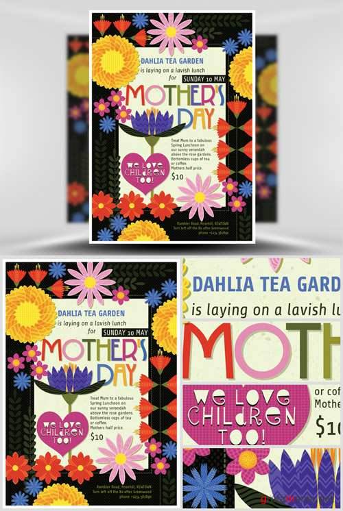Illustrated Mothers Day Flyer Template