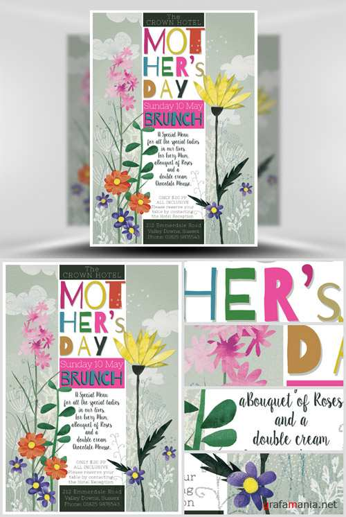 Mothers Day Watercolour Flyer Template