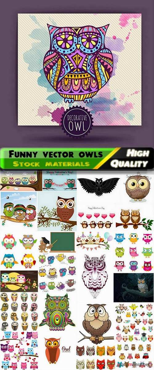 Set of funny vector owls from stock - 25 Eps