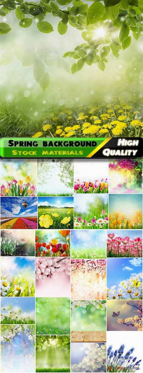 Spring background with flowers and landscapes - 25 HQ Jpg