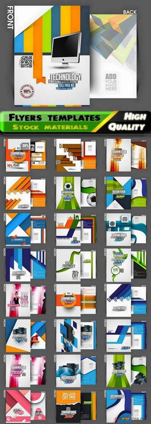 Flyers template design collection in vector from stock #59 - 25 Eps