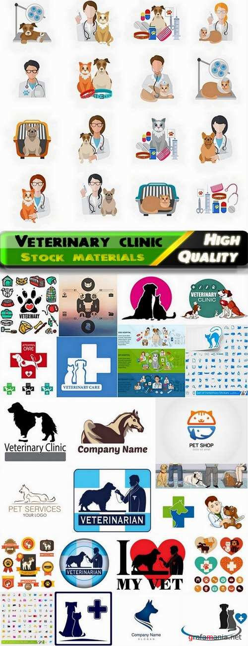 Emblems logos with pets and animals for for veterinary clinic - 25 Eps