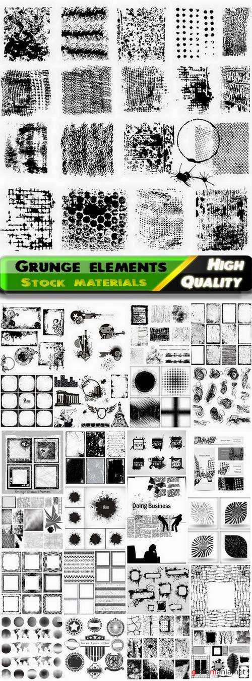 Set of different grunge backgrounds and elements - 25 Eps