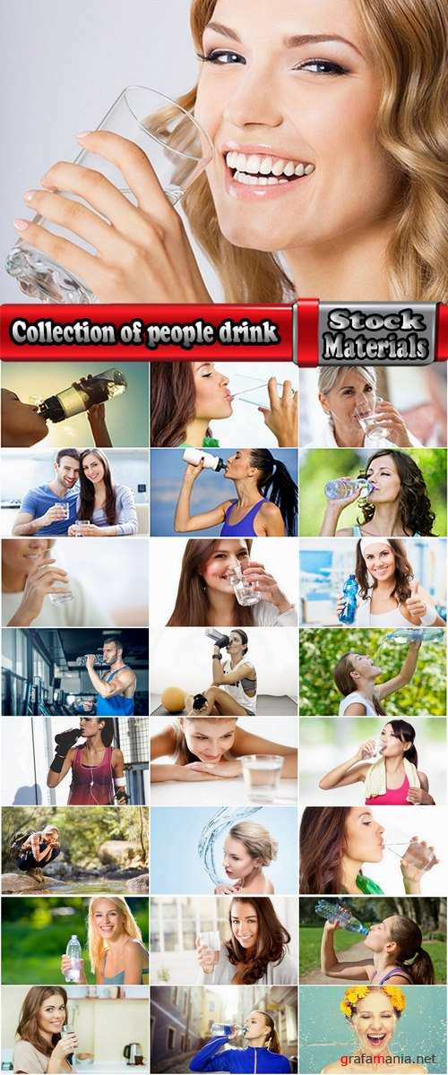 Collection of people drink a glass of water with purified water 25 HQ Jpeg