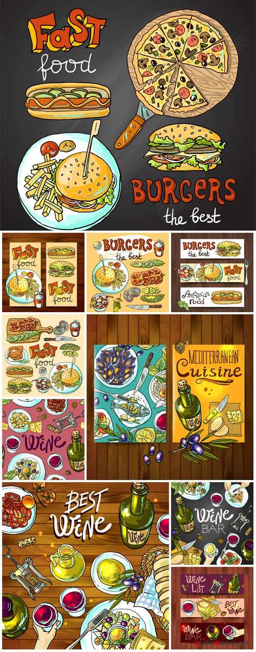 Food labels, vector backgrounds with different food