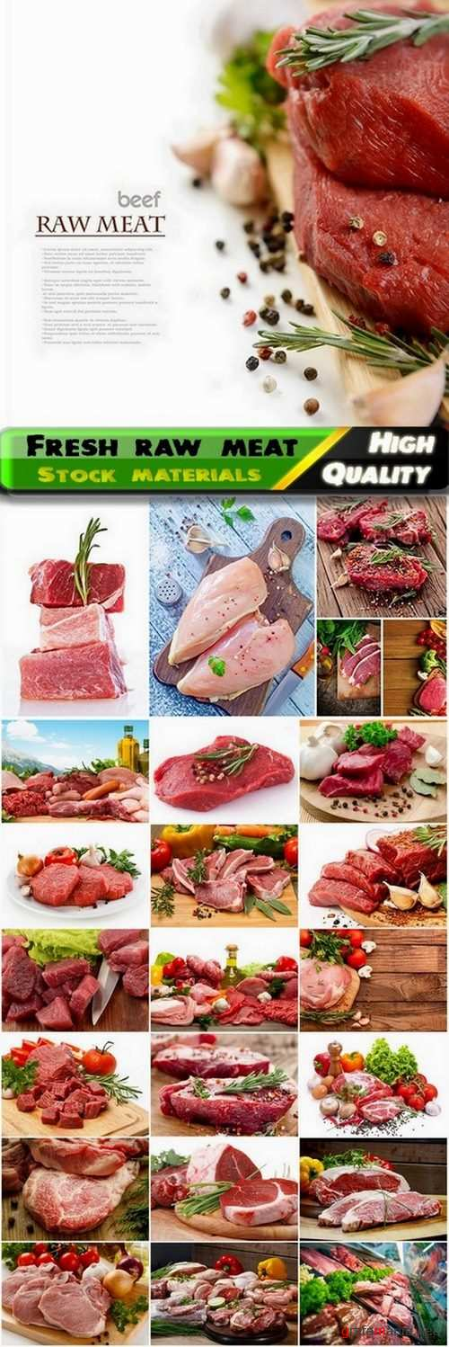 Fresh raw meat steak with vegetables and spices - 25 HQ Jpg