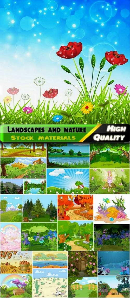 Landscapes with forests and rivers and underwater world - 25 Eps