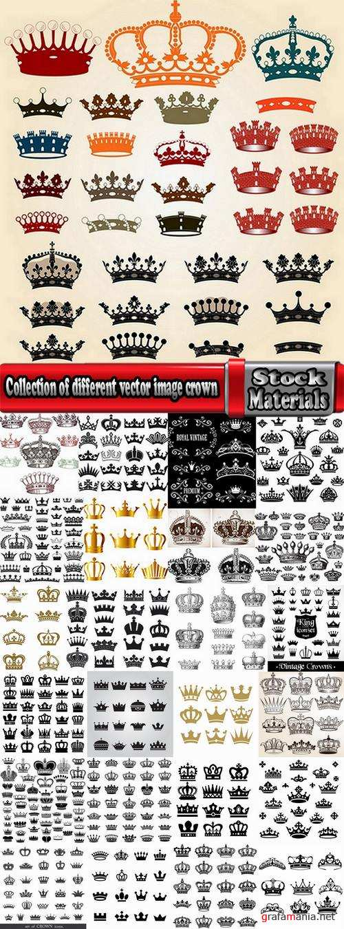 Collection of different vector image crown 25 Eps