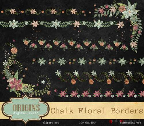 Chalk Floral Borders and Corners - Creativemarket 203167