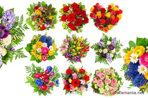 Bouquets of colorful flowers - Creativemarket 202984