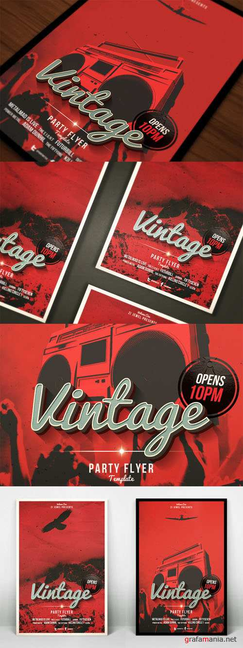 2 Vintage Party Flyers - Creativemarket 157722