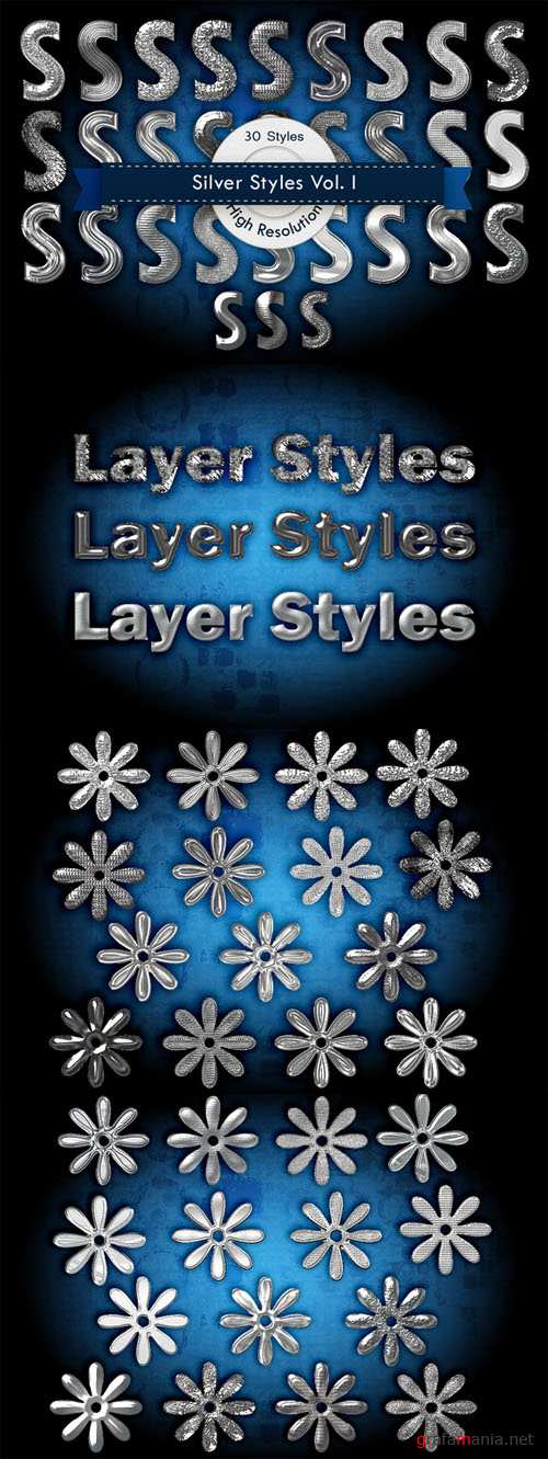 Silver Photoshop Layer Styles - CM 5196