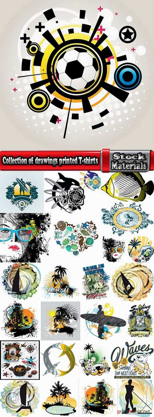 Collection of drawings printed T-shirts # 15-25 Eps