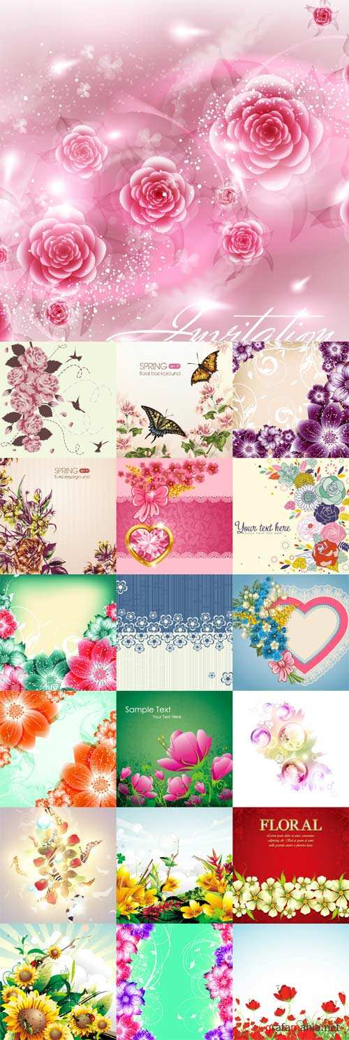 Romantic vector background with flowers