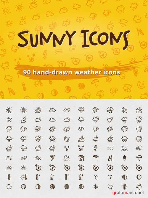 Sunny Icons: 90 weather icons - Creativemarket 87012
