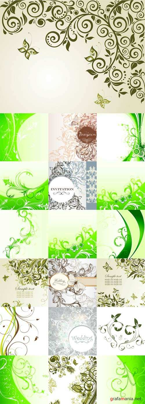 Floral backgrounds stock vector - 8