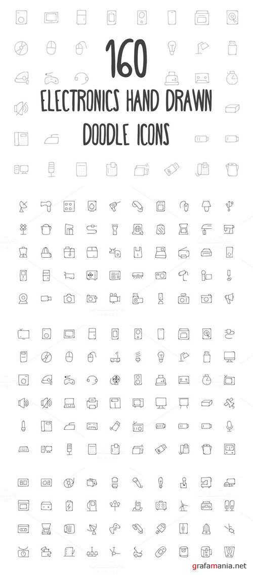 160 Electronics Hand Drawn Icons - Creativemarket 162355