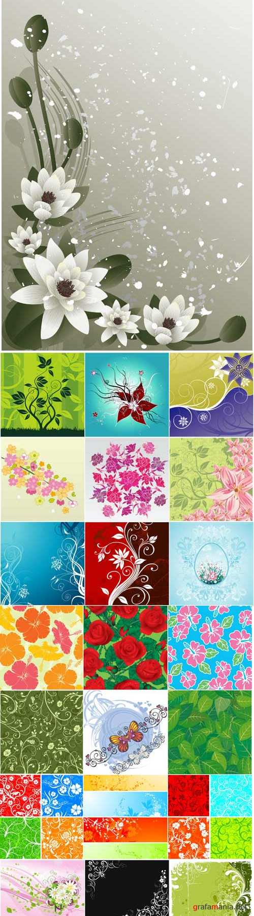 Floral patterns backgrounds stock vector - 5