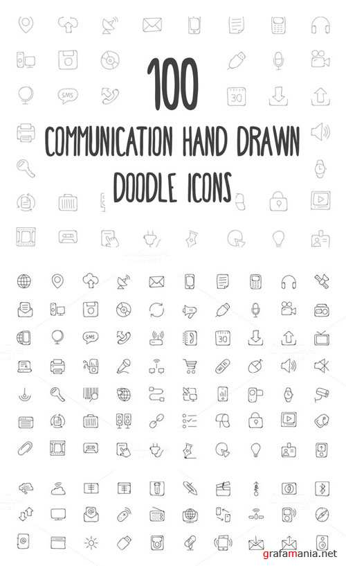 100 Communication Hand Drawn Icons - Creativemarket 160699
