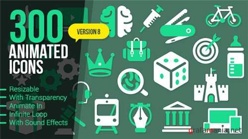 300 Animated Icons - After Effects Project (Videohive)