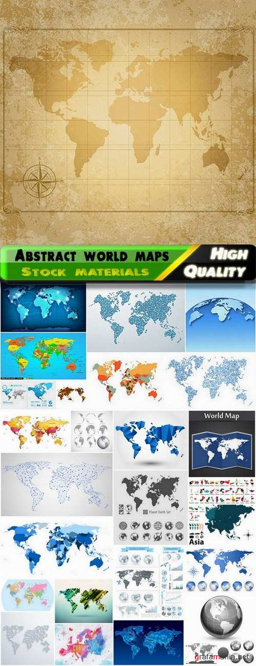 Abstract world maps and globes for business - 25 Eps