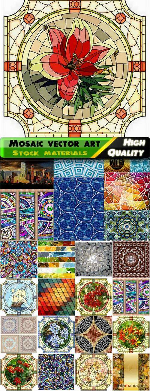 Different mosaic vector art from stock - 25 Eps