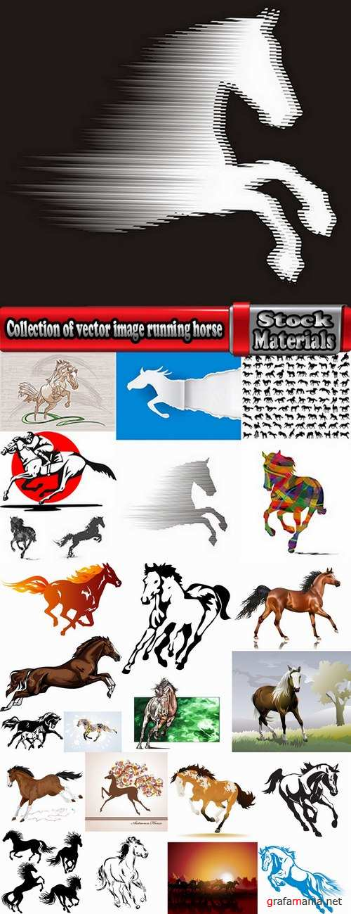 Collection of vector image running horse stallion 25 Eps