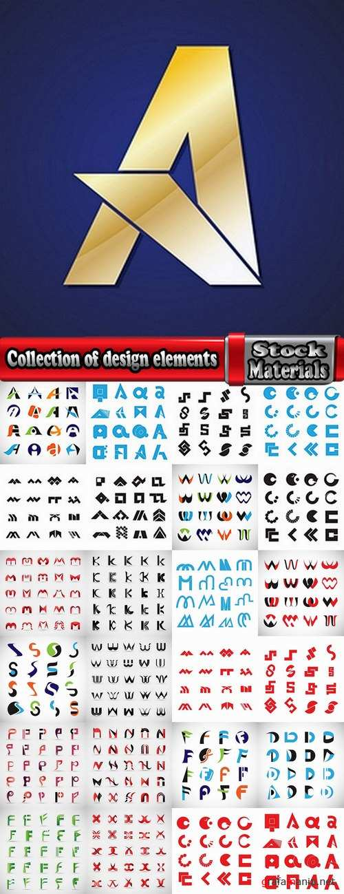 Collection of design elements vector image calligraphic alphabet letters 25 Eps