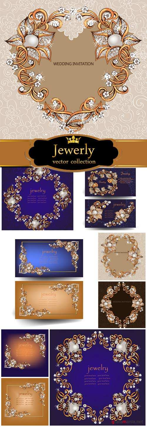 Gold frame, jewelry, vector backgrounds