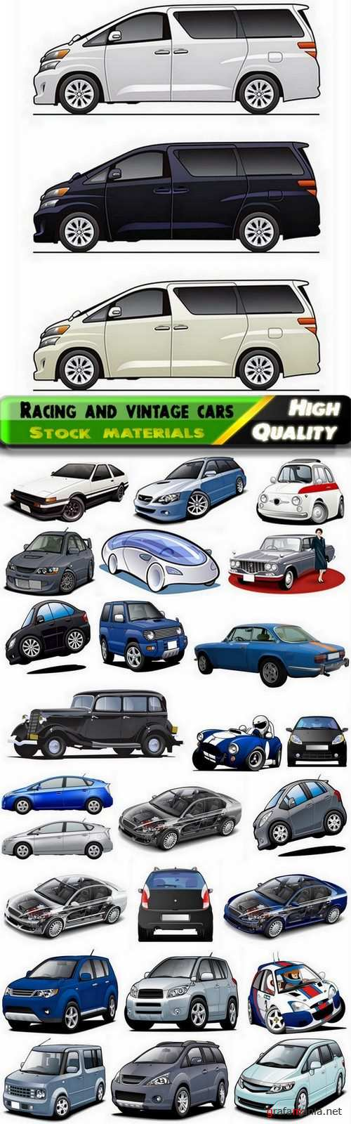 Cars racing and vintage cars illustrations - 25 HQ Jpg