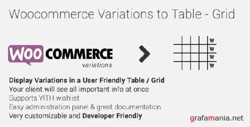 CodeCanyon - Woocommerce Variations to Table - Grid v1.1.1