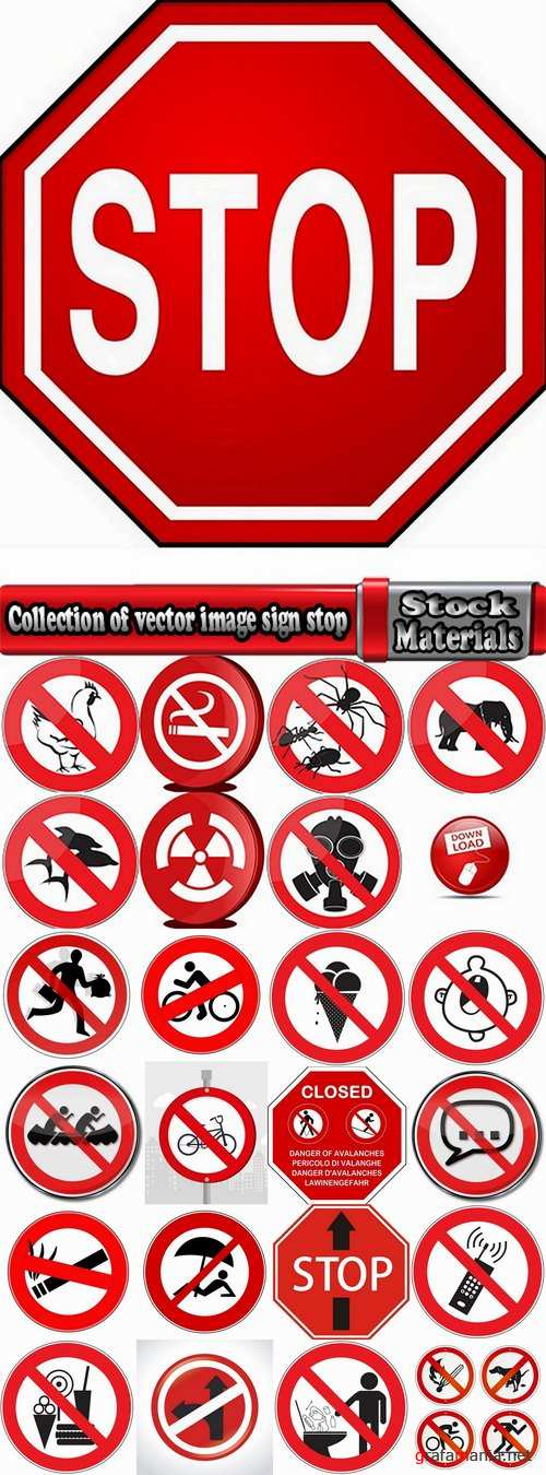 Collection of vector image sign stop sign prohibiting signs 25 Eps
