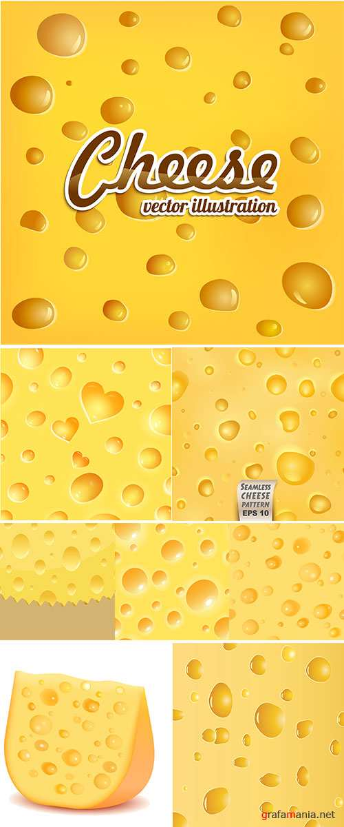Vector Stock Yellow cheese with wholes texture vector