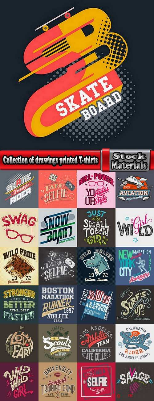 Collection of drawings printed T-shirts # 17-25 Eps