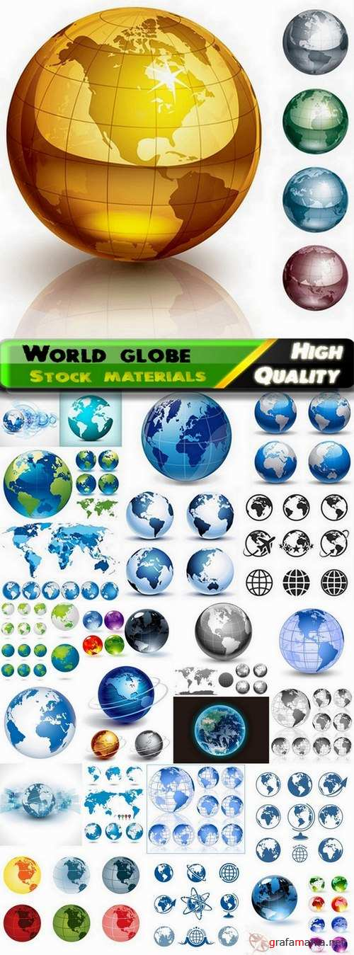 Abstract world globe and maps - 25 Eps