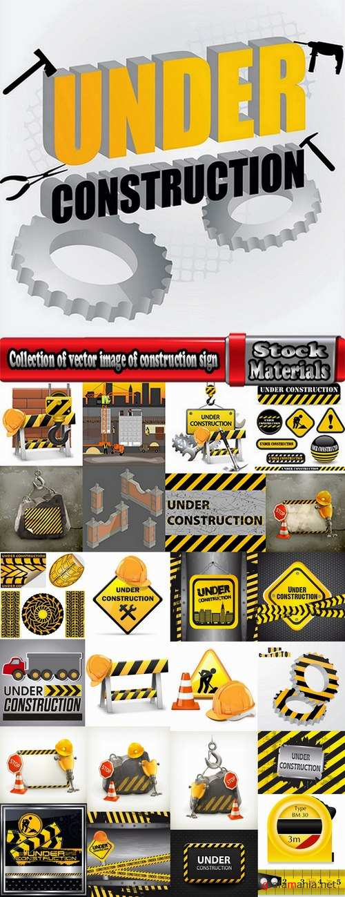Collection of vector image of construction sign construction warning sign template 25 Eps