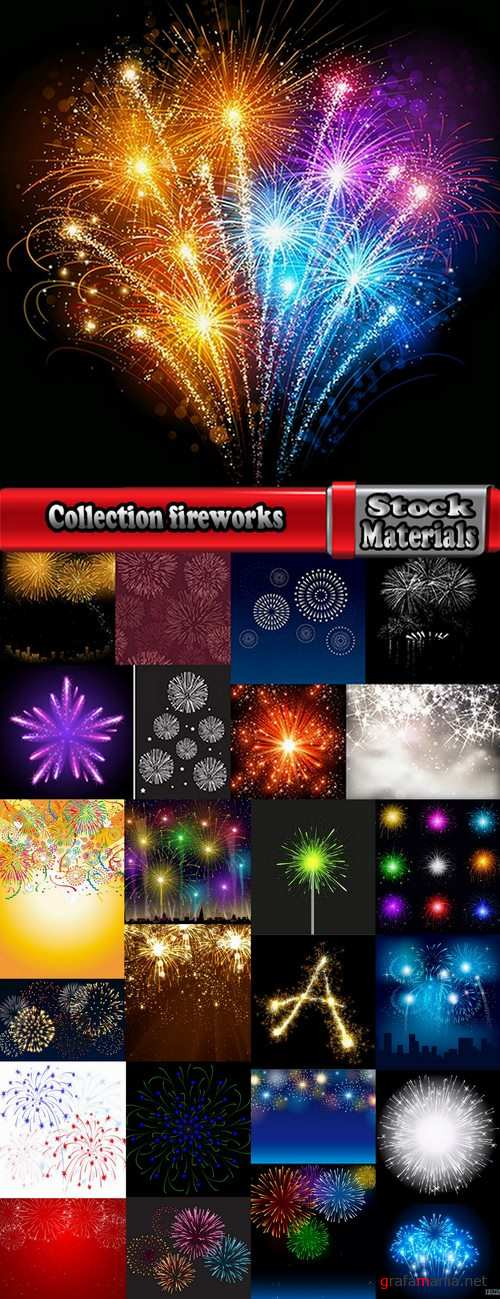 Collection of vector fireworks picture fireworks display celebration 25 Eps