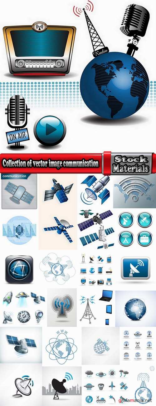 Collection of vector image communication satellite telemetry high-tech technology 25 Eps
