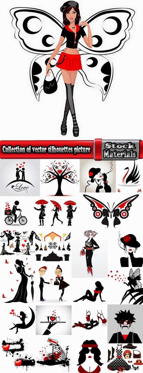 Collection of vector silhouettes picture grunge heart a girl dreams 25 Eps