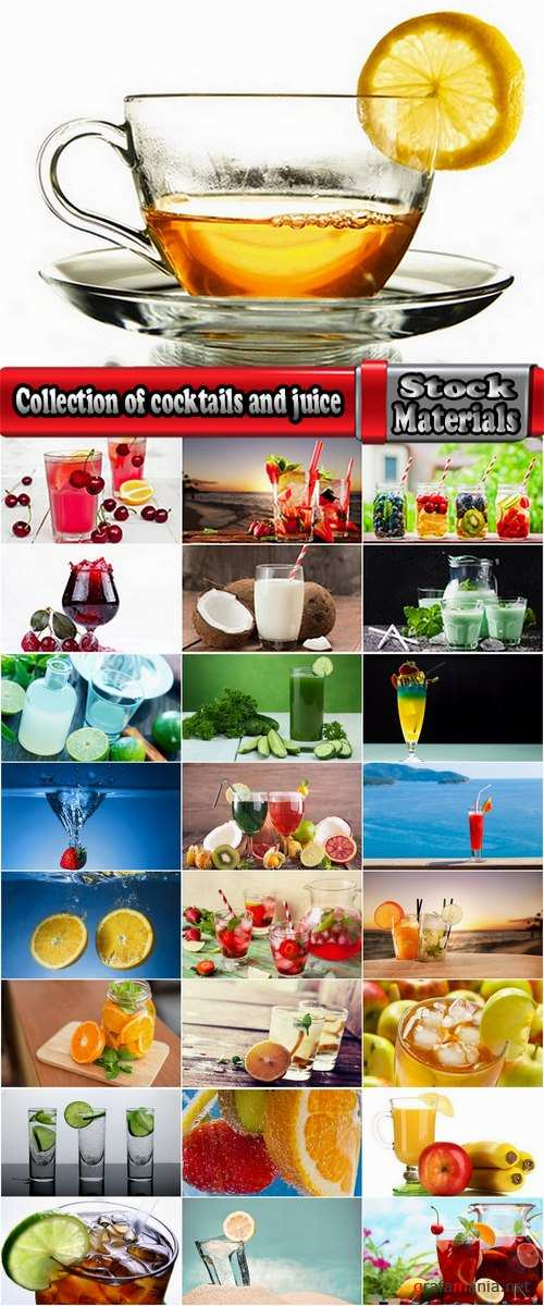 Collection of of cocktails alcohol water with lemon juice fruit vegetable juice 25 HQ Jpeg